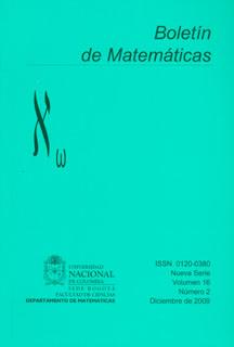 Boletín de Matemáticas Vol. XVI No. 2