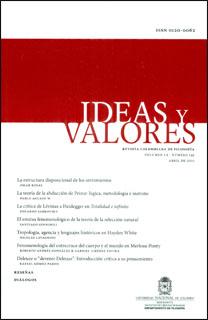 Ideas y Valores. Revista Colombiana de Filosofía. Vol. LX No. 145