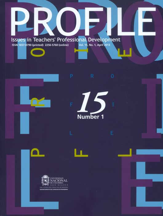 Profile. Issues in Teacher´s Professional Development. Vol. 15 No. 1