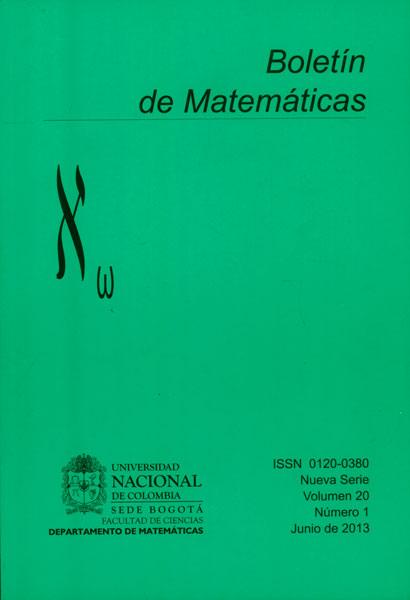 Boletín de Matemáticas Vol. 20 No. 1