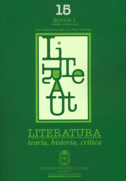 Literatura: teoría, historia, crítica. Vol 15 No. 1