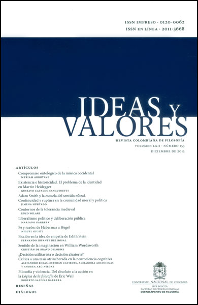 Ideas y Valores. Revista Colombiana de Filosofía. Vol. LXII. No. 153