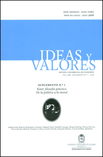 Ideas y Valores. Revista Colombiana de Filosofía. Vol. LXII Suplemento No. 1 - 2013. Kant: filosofía práctica de la política a la moral
