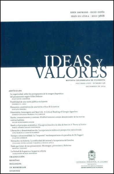 Ideas y valores. Revista Colombiana de Filosofía. Vol LXIII No. 156