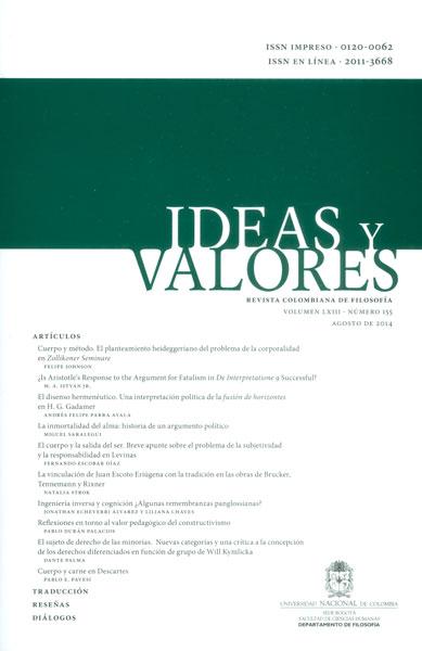 Ideas y valores. Revista colombiana de filosofía. Vol LXIII. No. 155