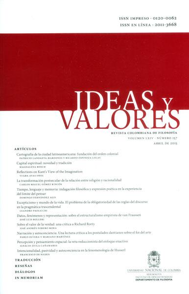 Ideas y valores. Revista colombiana de filosofía Vol. LXIV. No. 157