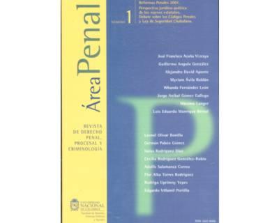 Área Penal No. 1. Revista de Derecho Penal, Procesal y Criminología