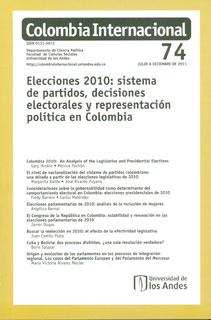 Colombia Internacional No. 74. Elecciones 2010 : sistema de partidos, decisiones electorales y representación política en Colombia