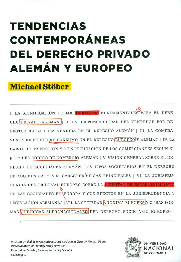 Tendencias contemporáneas del derecho privado Alemán y Europeo