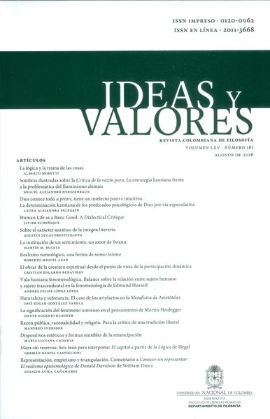 Ideas y valores. Revista colombiana de filosofía Vol.LXV No.161