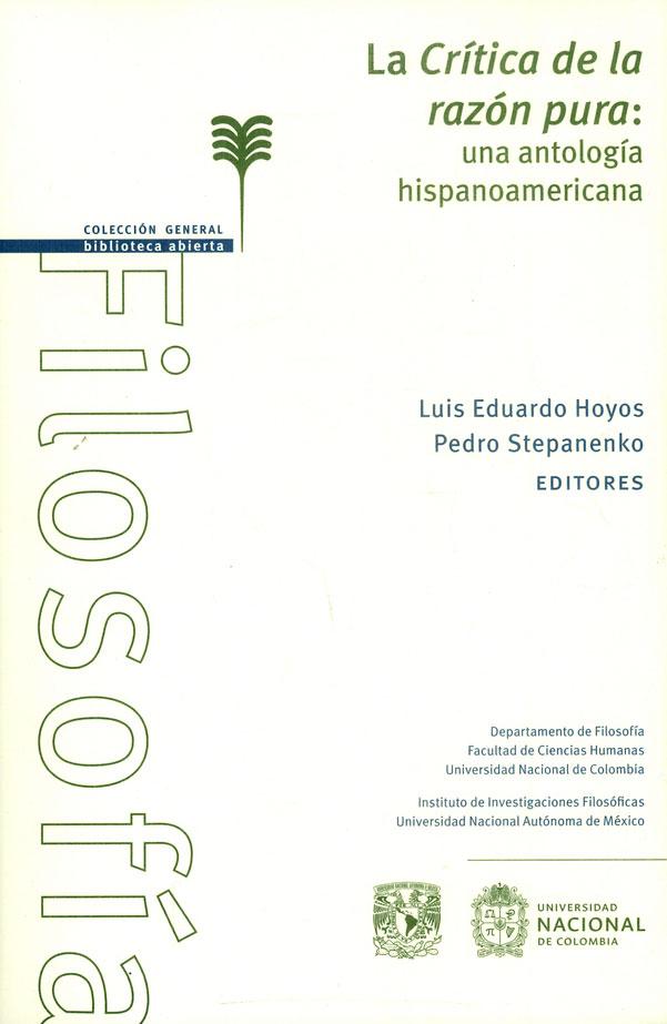 La crítica de la razón pura: una antología hispanoamericana