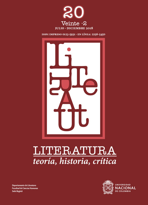 Literatura. Teoría, historia, crítica Vol. 20 No. 2  Julio - Diciembre  2018