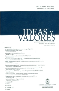 Ideas y valores. Revista Colombiana de Filosofía. Vol LXIII No. 156
