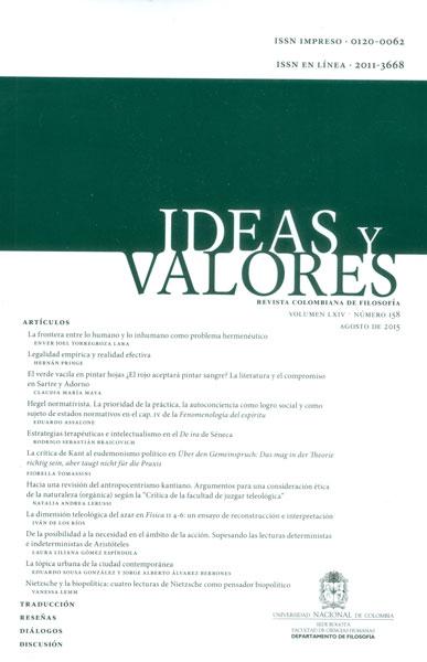 Ideas y valores. Revista colombiana de filosofía. Vol LXVI. No. 158