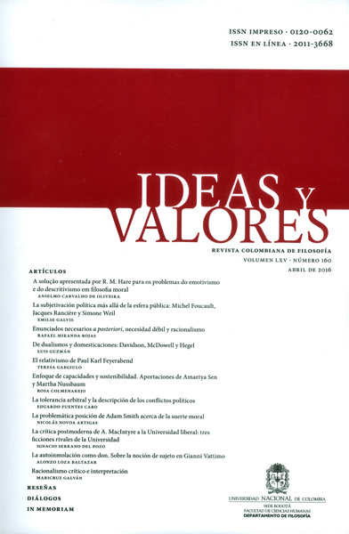 Ideas y valores. Revista colombiana de filosofía. Vol LXV- No.160